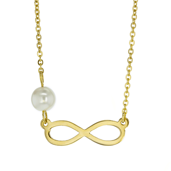 9ct 45cm Infinity with Side Pearl Necklace
