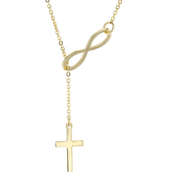 9ct 50cm Cross Through The Infinity Necklace.
