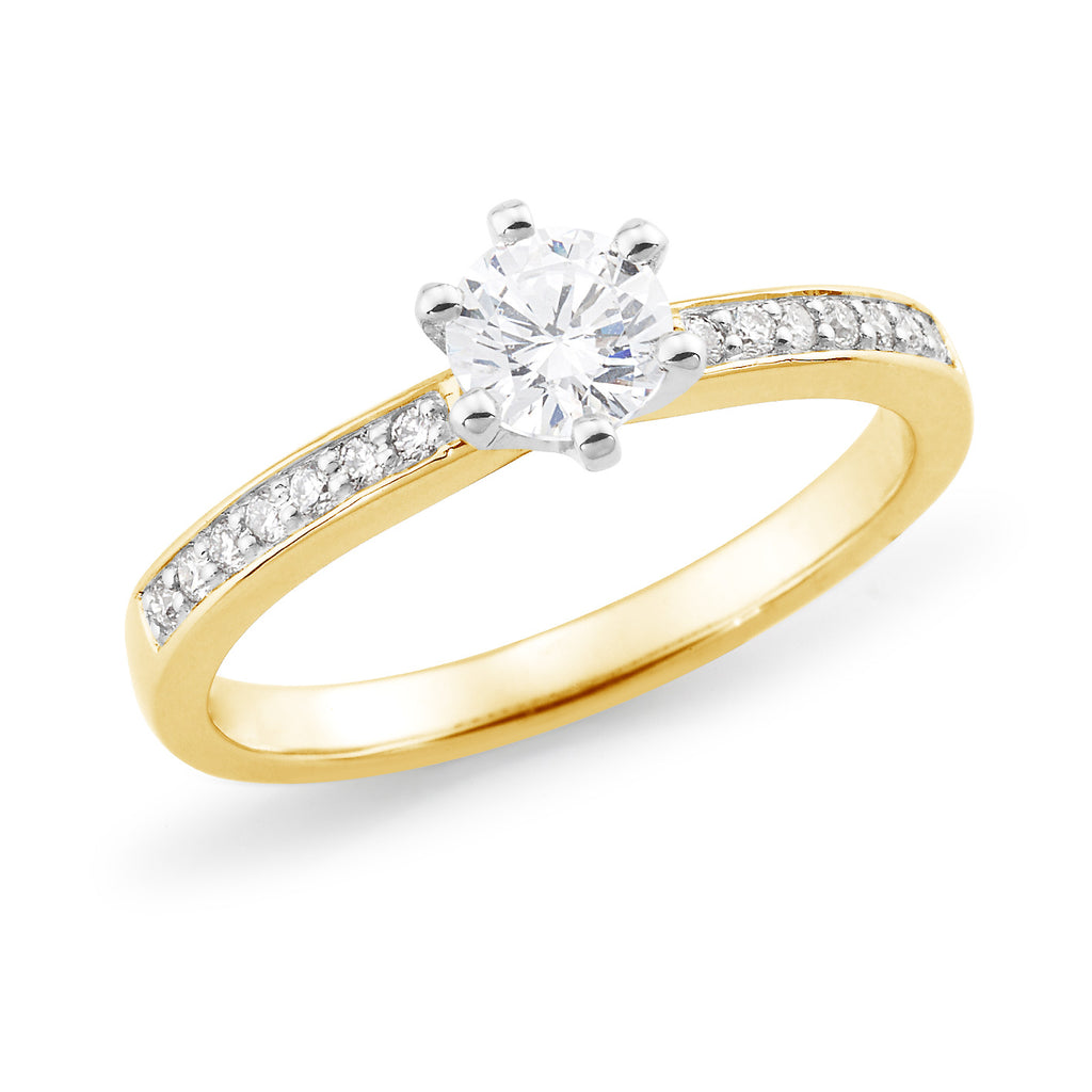 9ct Gold Diamond Ring with White Gold Setting