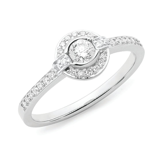 9ct White Gold Bezel/Grain Set Halo Diamond Ring