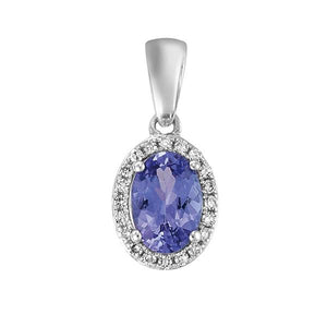 9ct White Gold Oval Tanzanite and Round Brilliant-cut Diamond Pendant