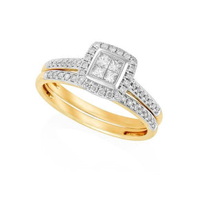 9ct Yellow Gold Invisible Set Princess Cut Ring and Matching Round Brilliant-cut Diamond Wedder Set