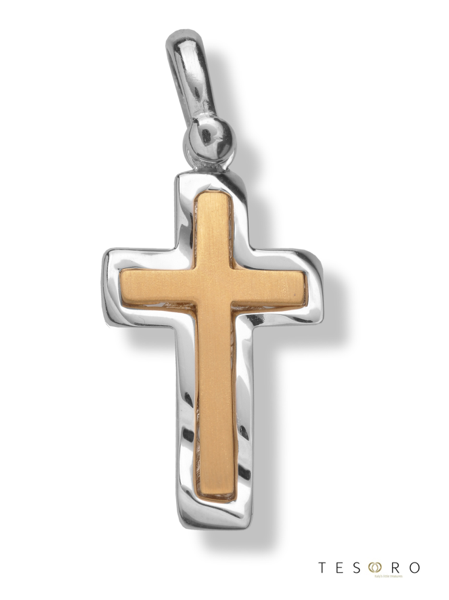 9ct yellow & white fancy gold cross