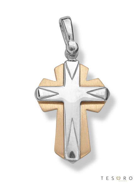 9ct yellow & white gold fancy cross