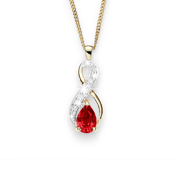9ct Gold Pear-Shaped Created-Ruby And Diamond Infinity Pendant