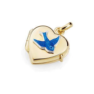 Gold Plated Sterling Silver Heart-Shape Hinged Locket With Enamelled Bluebird