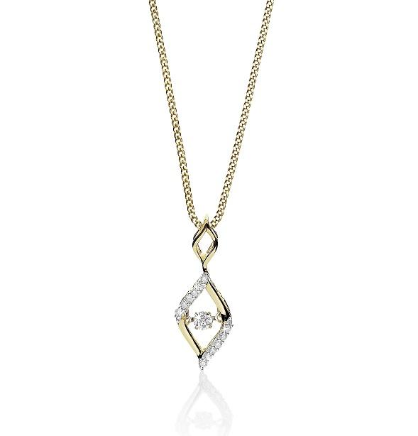 Diamonds 9ct Yellow Gold 11 Diamond = 0.16ct Flame Pendant (Hi Si3/P1)