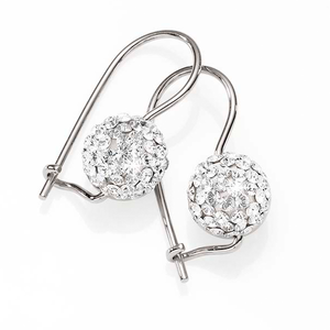 Sterling Silver 8mm White Crystal Encrusted Euroball Earrings
