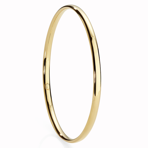 9ct Gold Bonded Silver 4mm Half Round Tube Bangle Internal Diameter = 65mm