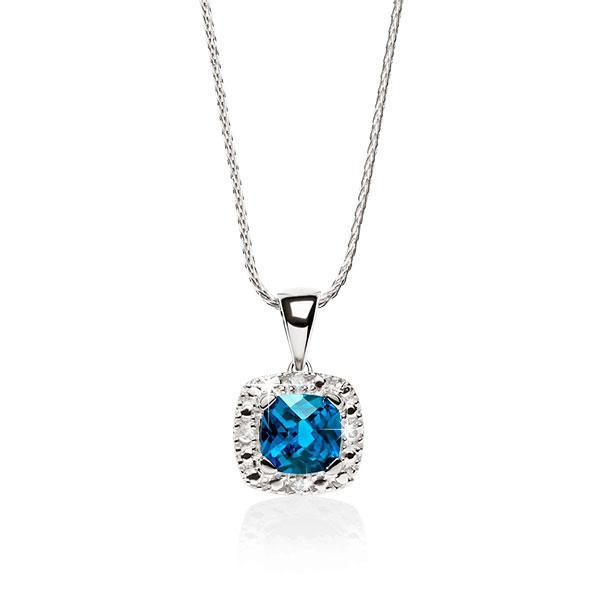 9ct White Gold Cushion Cut London Blue Topaz With Pave Diamond Surround Pendant