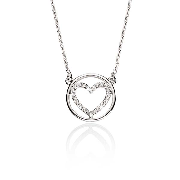 Sterling Silver 0.02ct Pave Diamond Heart With Polished Circle Pendant