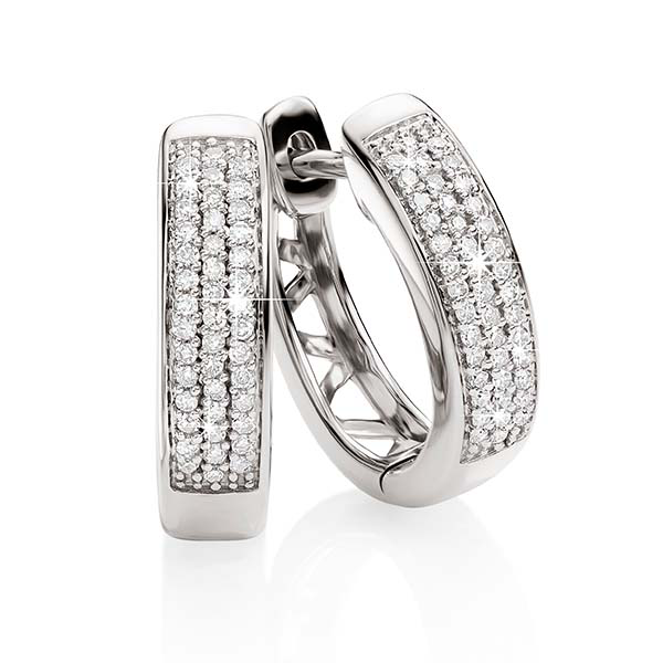 9ct White Gold 0.15ct 3 Row Pave Dia Set Huggies
