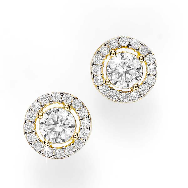 9ct 4 Claw Set Cubic Zirconia (CZ) With Pave Surround Stud Earrings