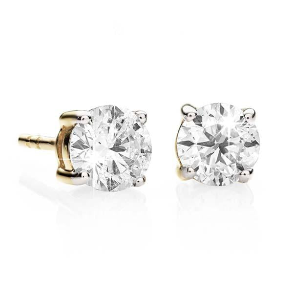 9ct Yellow Gold 4 Claw Diamond Studs (Tdw = 0.50ct Owlb)