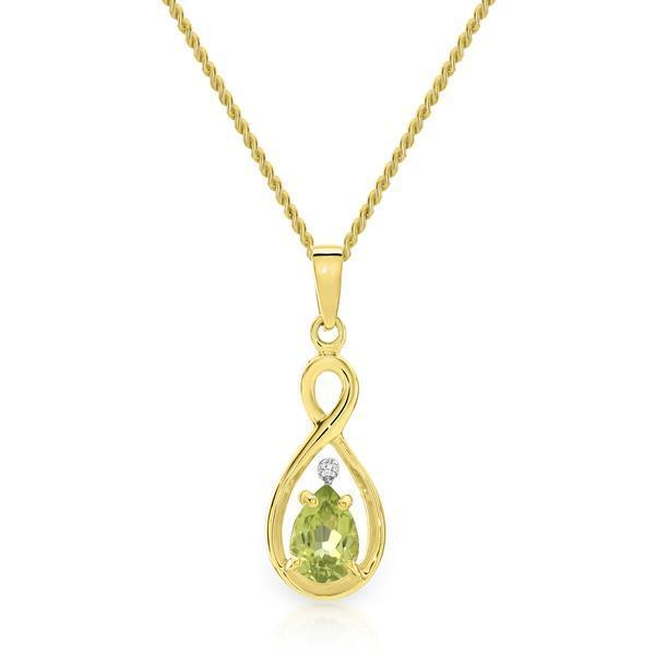 Yellow Gold Claw Set Pear Shaped Peridot & Diamond Infinity Pendant