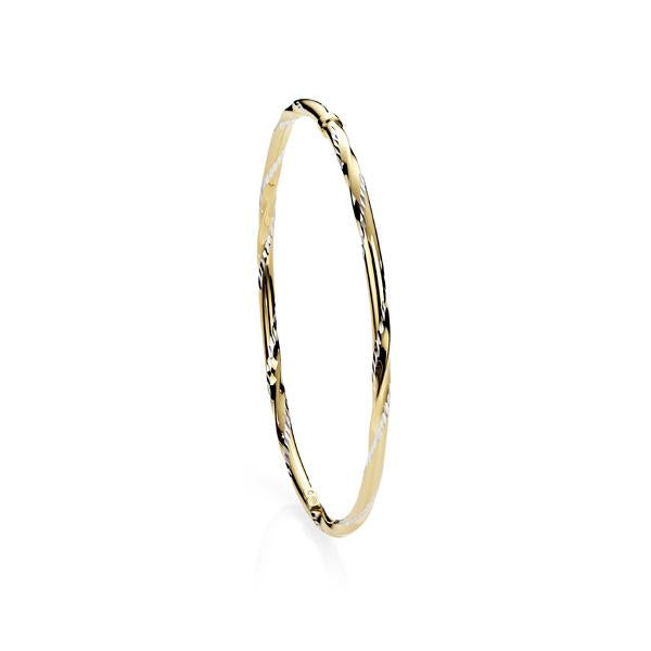 9ct Gold Bonded 65mm Diamond Cut Twist/Polished Bangle