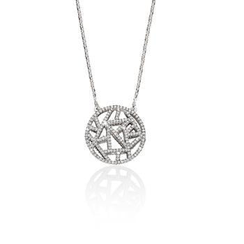 Sterling Silver Cubic Zirconia Circle Disc Necklace