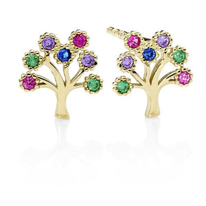 9ct Gold Multi Color Cubic Zirconia Tree Stud Earrings