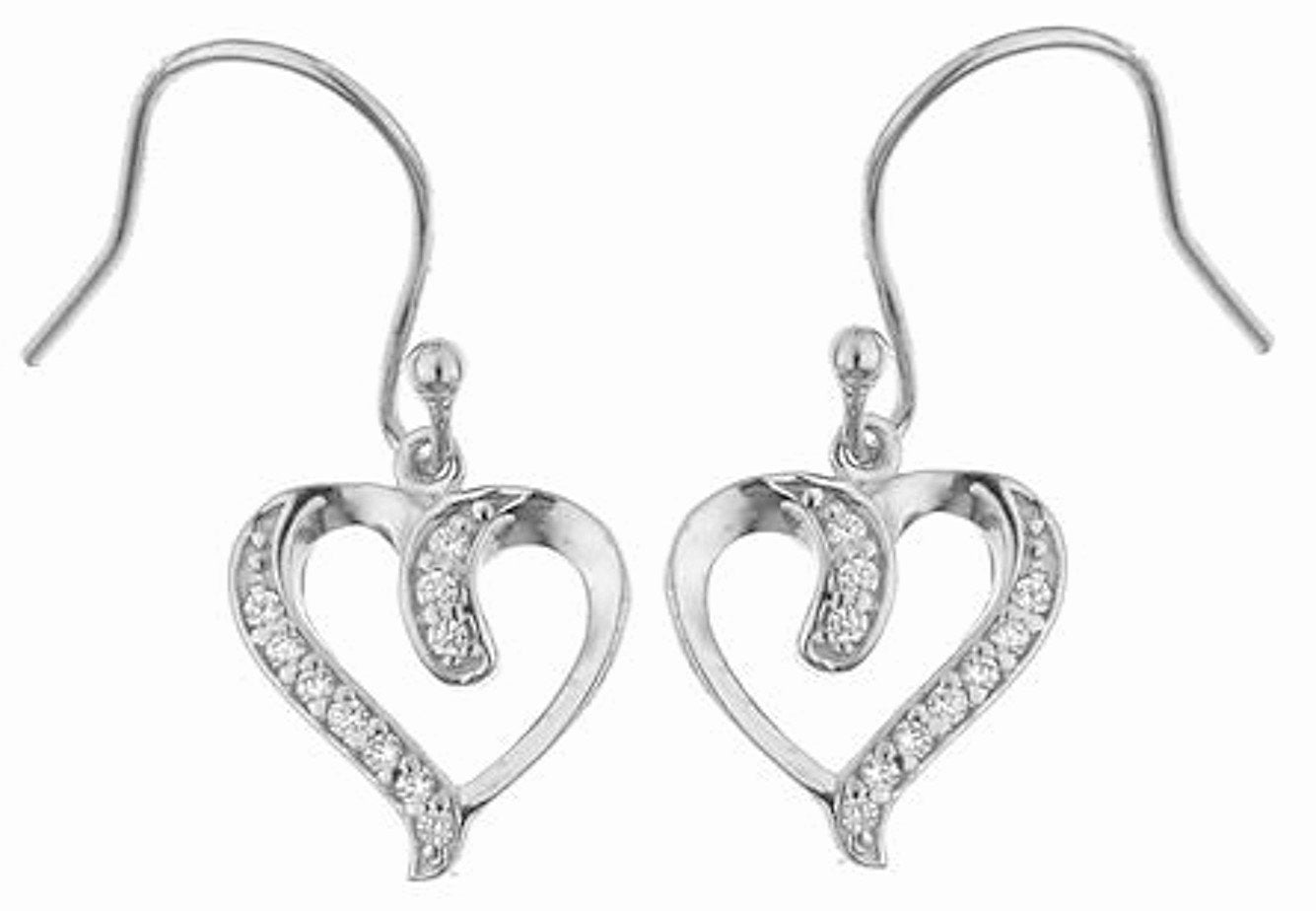 Sterling Silver Heart Shepherd Hook Earrings