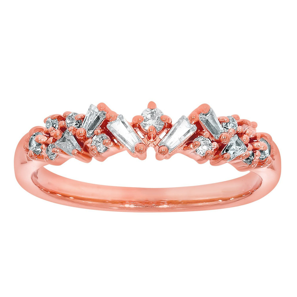 9ct Rose Gold Diamond-Set 0.25ct DreSterling Silver Ring