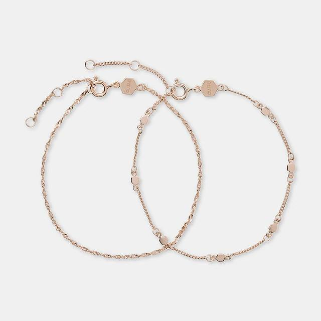 Essentielle Rose Gold Set Twisted and Hexagon Chain