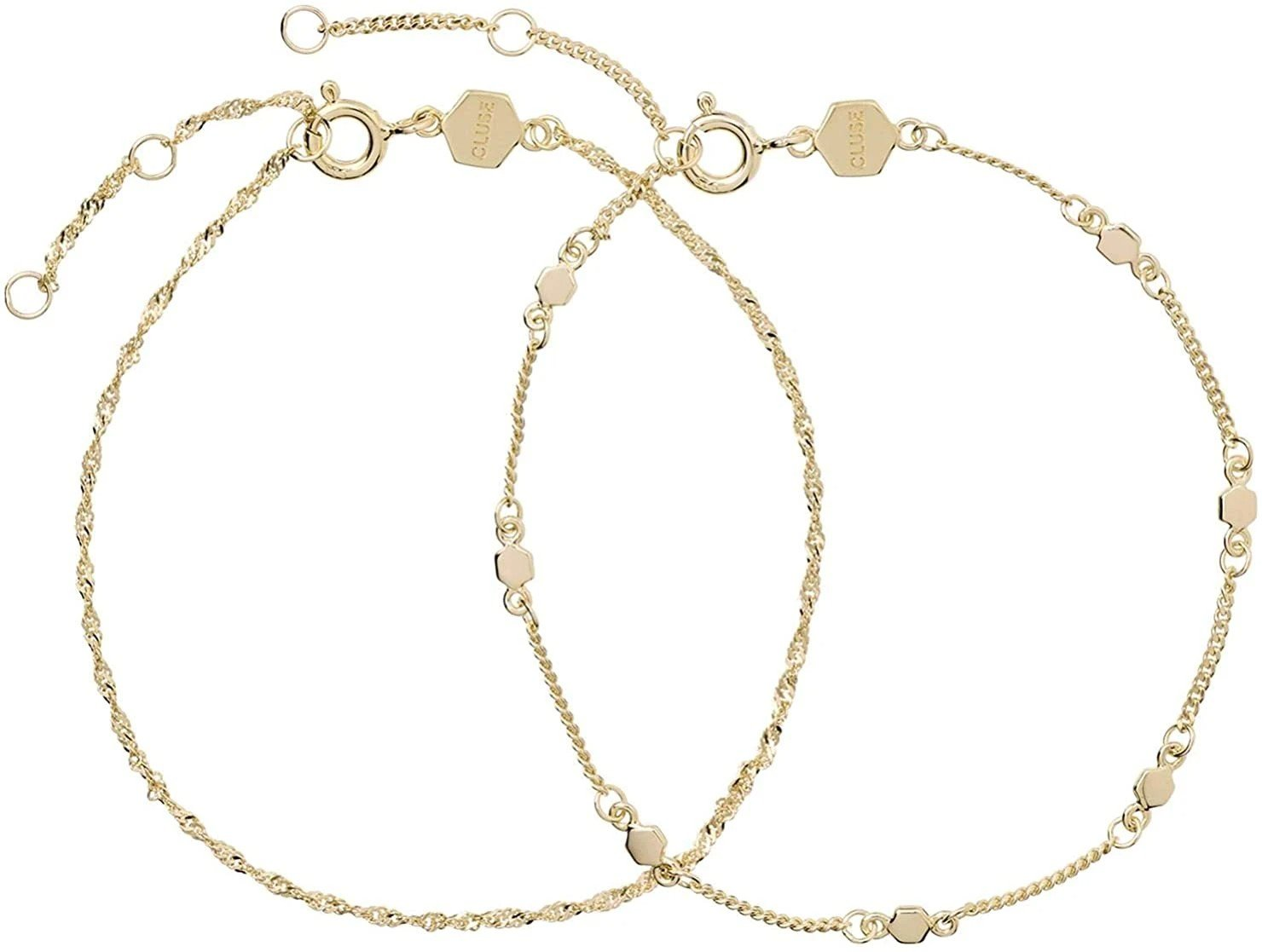Essentielle Gold Set Twisted and Hexagon Chain