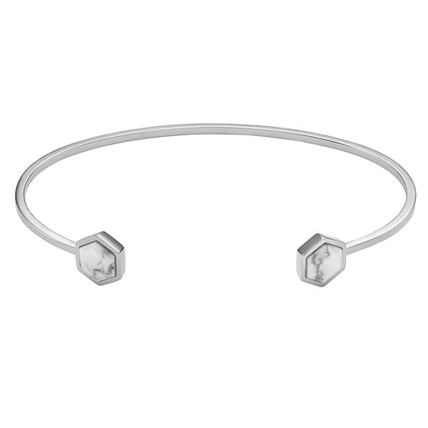 CLUSE Idylle Silver Marble Hexagons Open Cuff