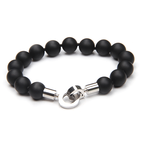 Cudworth Stainless Steel/Black Agate Beaded Bracelet