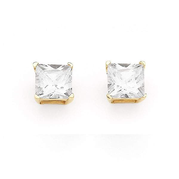 9 Carat 5mm Princess-Cut Cubic Zirconia Earrings