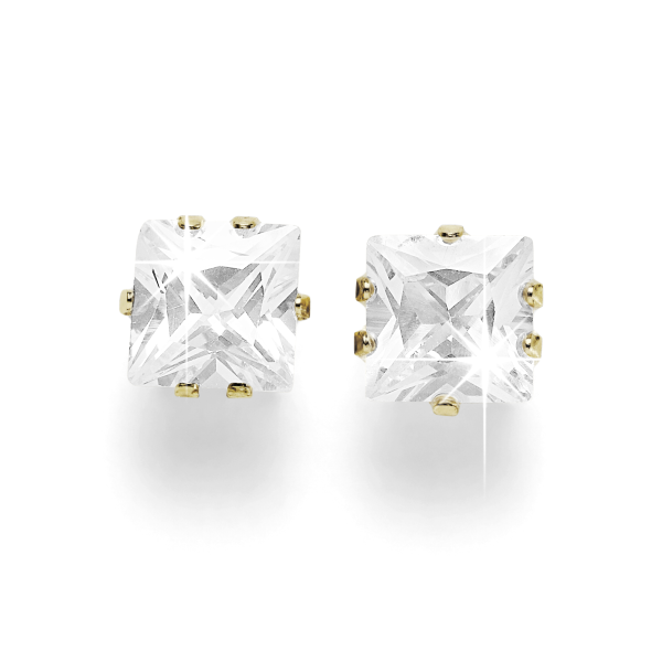9ct 6mm Princess-cut CZ Earrings