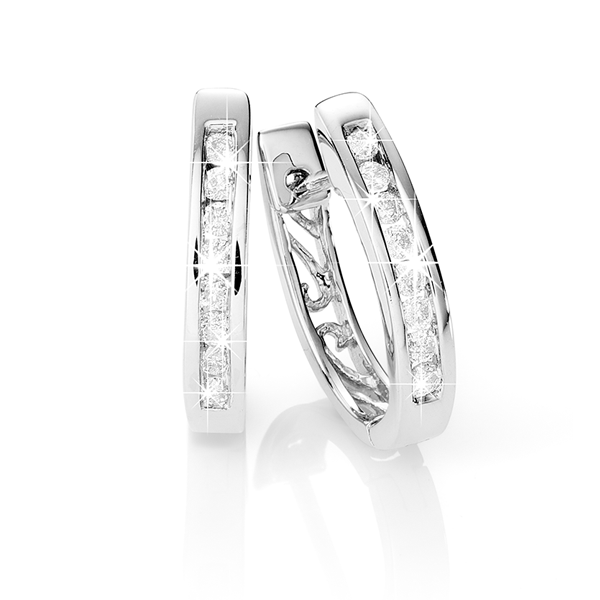 9ct White Gold 0.25ct Diamond Huggies