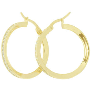 9ct and Silver Bonded, Cubic Zirconia Hoop Earrings