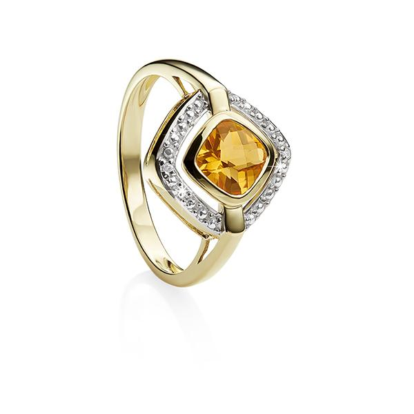 9ct cushion citrine & diamond ring