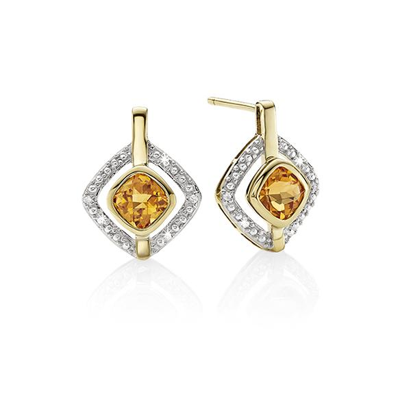 9ct cushion citrine & diamond studs