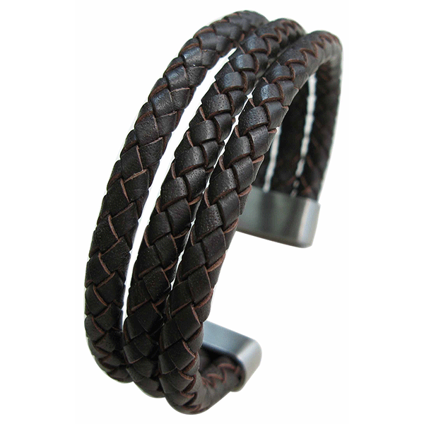 Cudworth Brown Plaited Triple Layered Leather Cuff