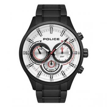 Police Watch Controller White Dial Black Strap