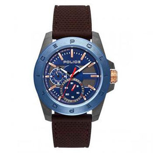 Police Watch Peckham Blue Dial Brn Silicon Strap