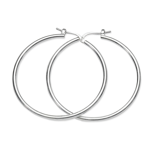 Sterling Silver 40mm Hoops