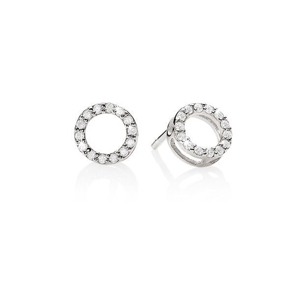sterling silvercubic zirconia circle stud earrings