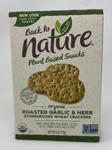 Back to Nature Crackers, Organic Roasted Garlic & Herb, 6 Ounce