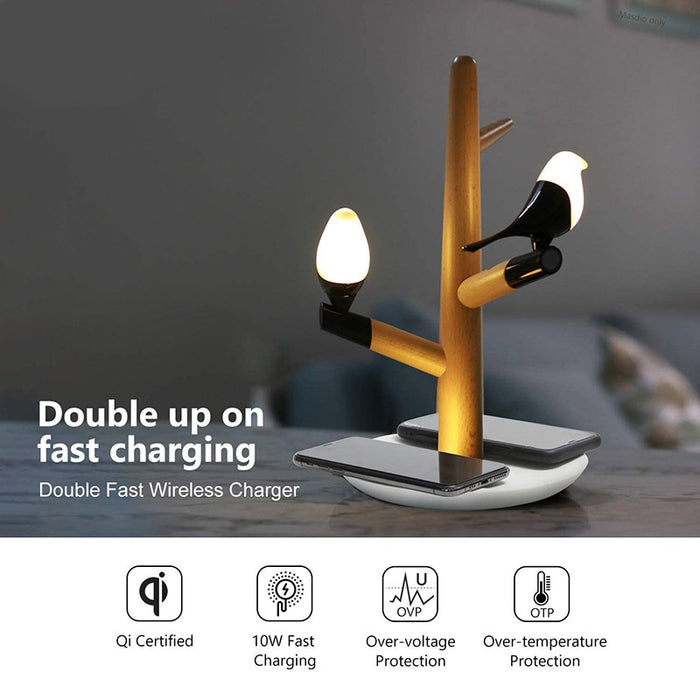 Dual Wireless Charger Lamp Night Light