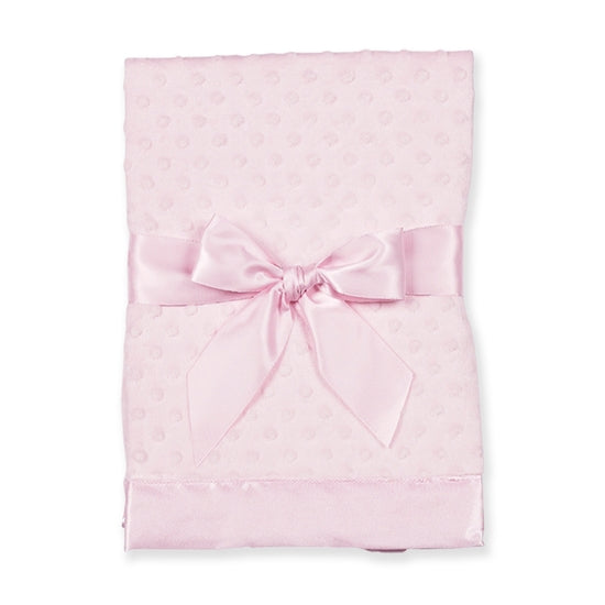 Pink Soft Blanket with Dots and Bow