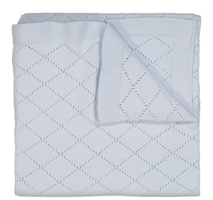 Feltman Brothers: Diamond Pointelle Knit Blanket / Blue