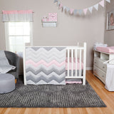 Cotton Candy Chevron 3 Piece Crib Bedding Set
