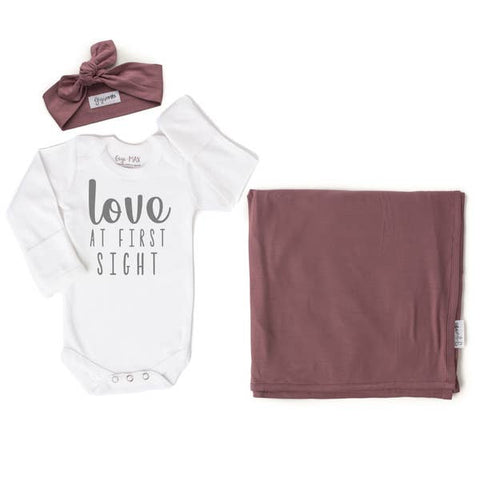 Love at First Sight Onesie, Kate headband and swaddle