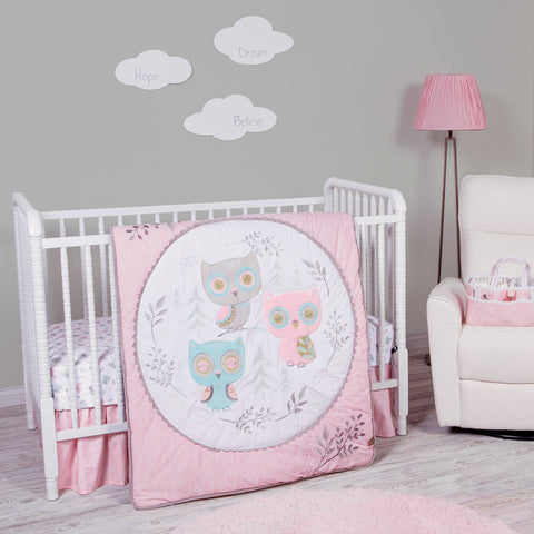 Feathered Friends 3 Piece Crib Bedding Set