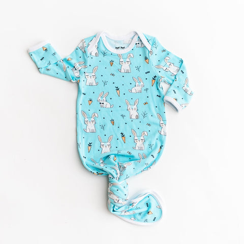 Aqua Bunnies Bamboo Viscose Infant Knotted Gown