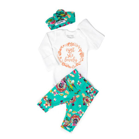 Isn't She Lovely Teal Floral Newborn set Long Sleeve