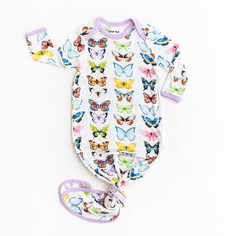 Butterflies Bamboo Viscose Infant Knotted Gown