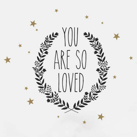 You Are So Loved Quote Lettering Wall Decal - Black / Gold